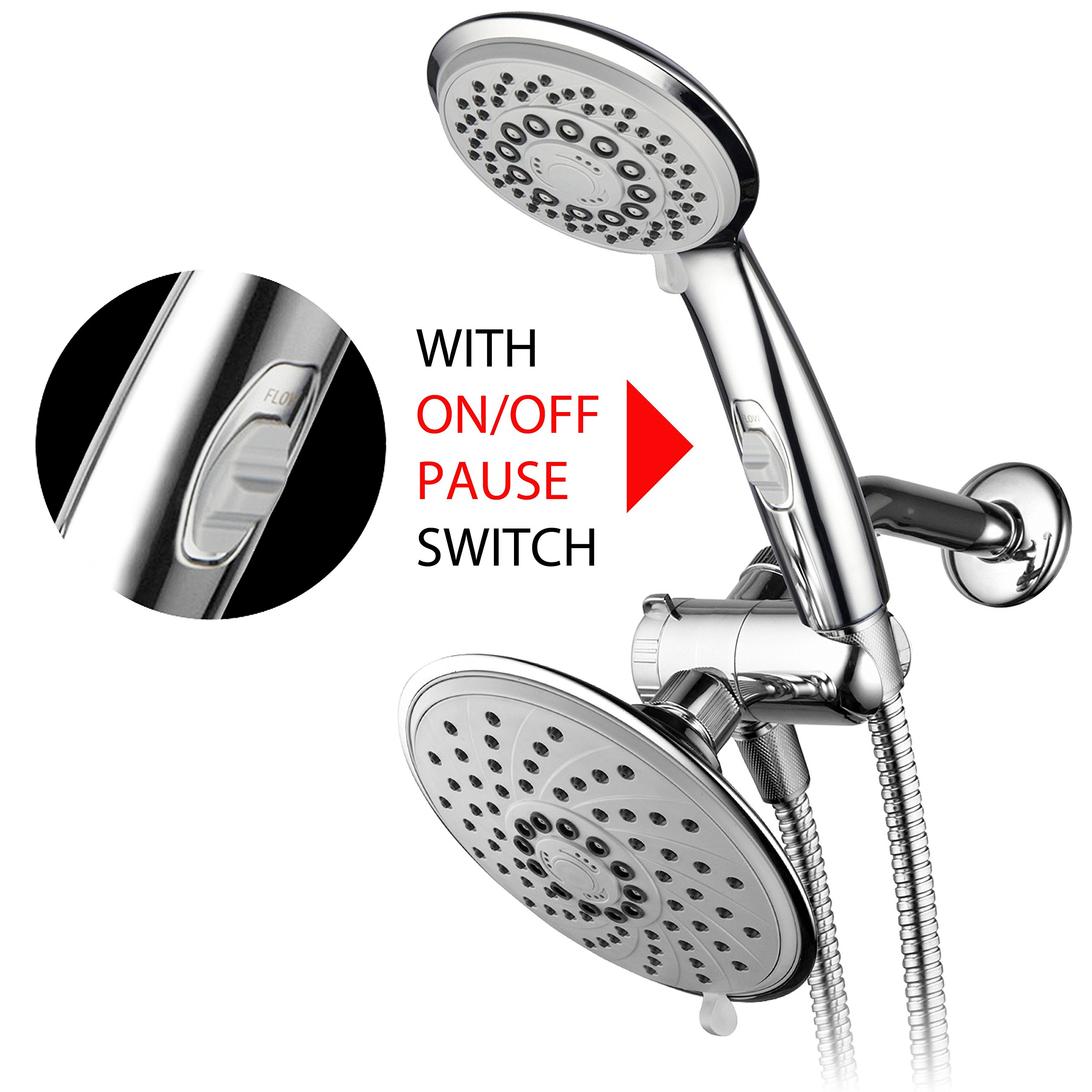 HotelSpa 6''/4'' Ultra-Luxury 3 way Rainfall Shower-Head/Handheld Shower Gray Spiral Combo w/Patented ON/OFF Pause Switch and 5-7 foot Stretchable Stainless Steel Hose by HotelSpa (Image #2)