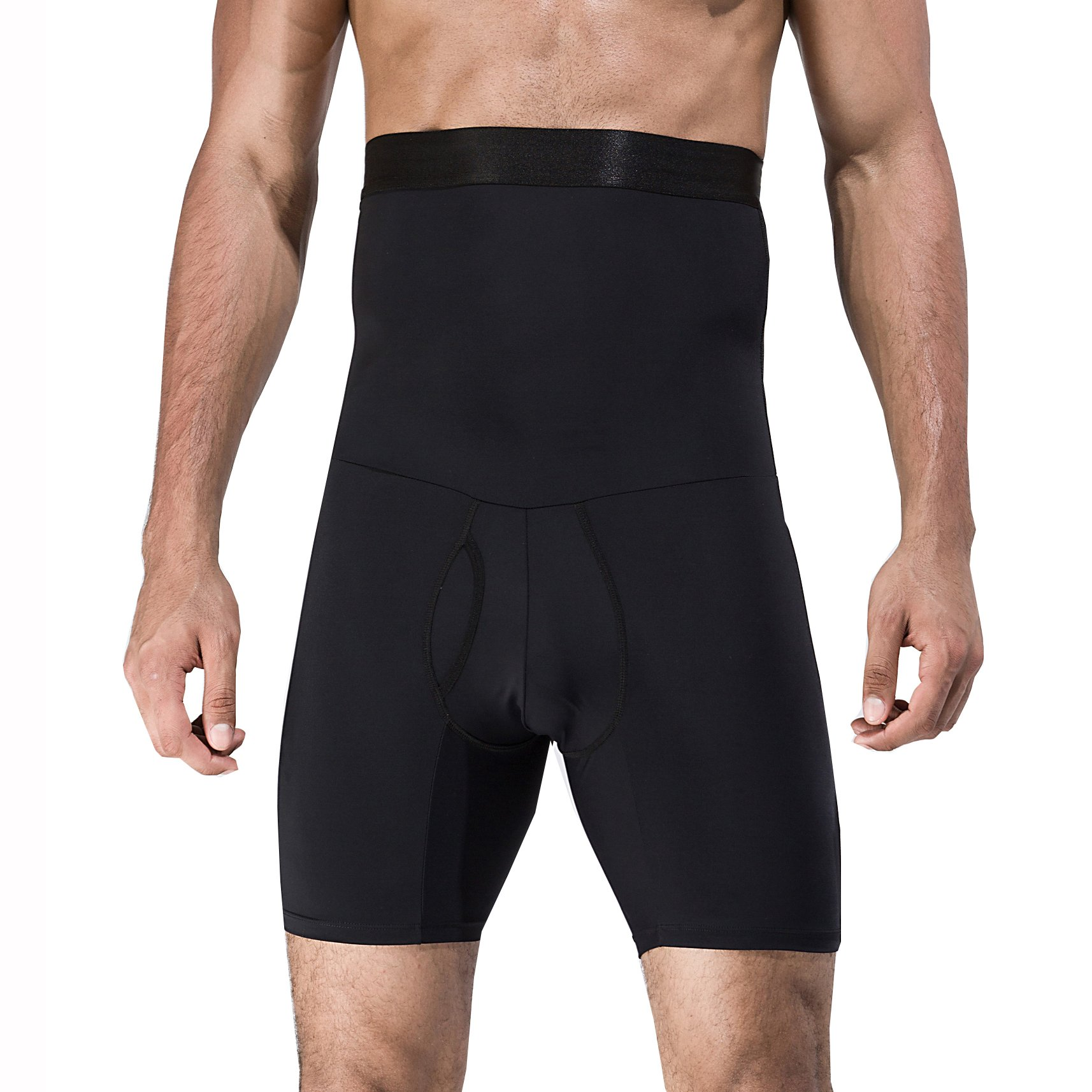 iYunyi Men's High Waist Slimming Body Shaper Tummy Control Shapewear Waist Abdomen Trimming Boxer Brief (Black, Large/36.22-42.13inch)
