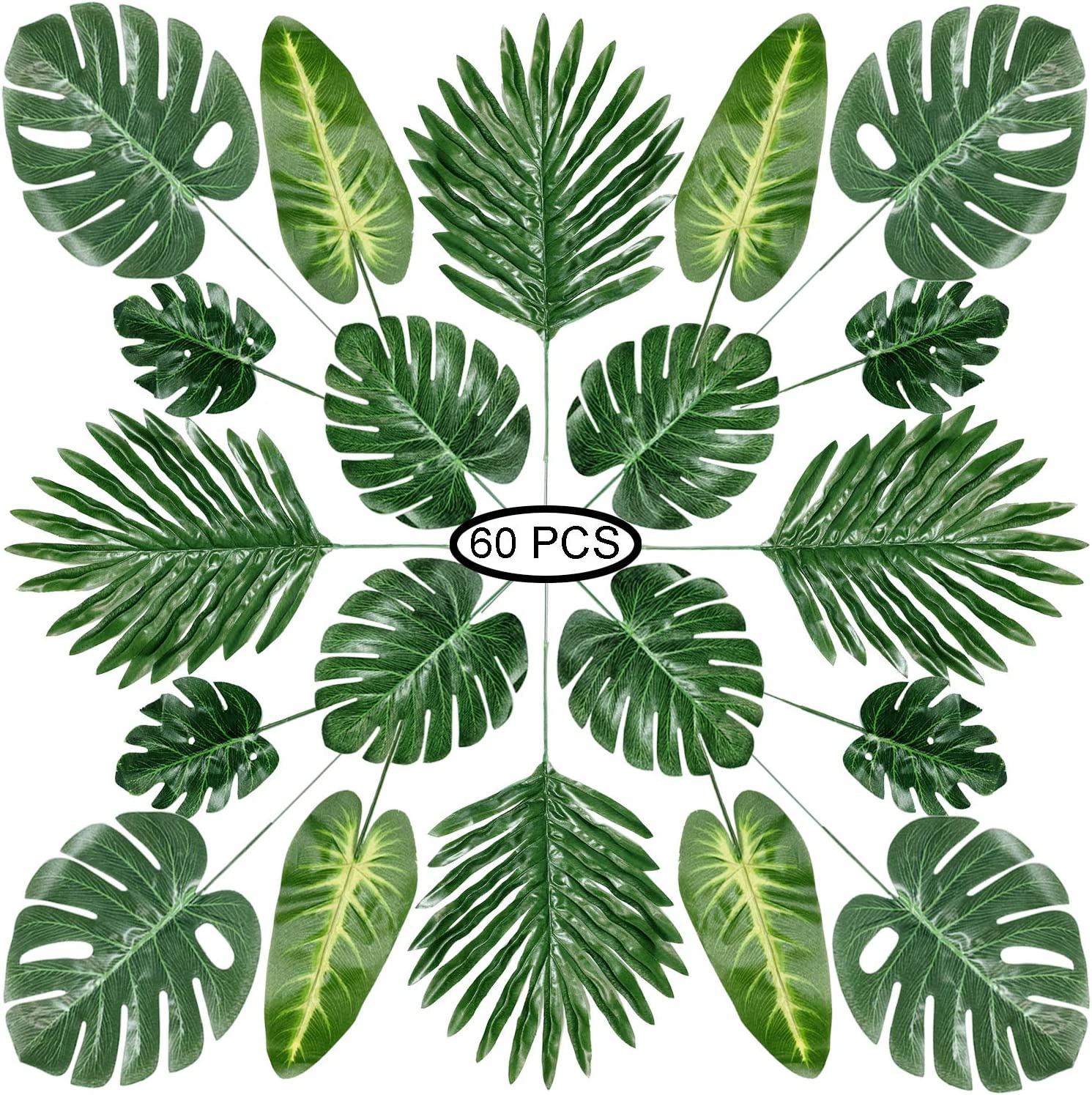 Recosis 60 Pieces 5 Kinds Artificial Palm Leaves with Faux Stem, Tropical Party Decorations Jungle Monstera Leaves Safari Leaves for Hawaiian Luau Party Jungle Beach Table Leave Decorations