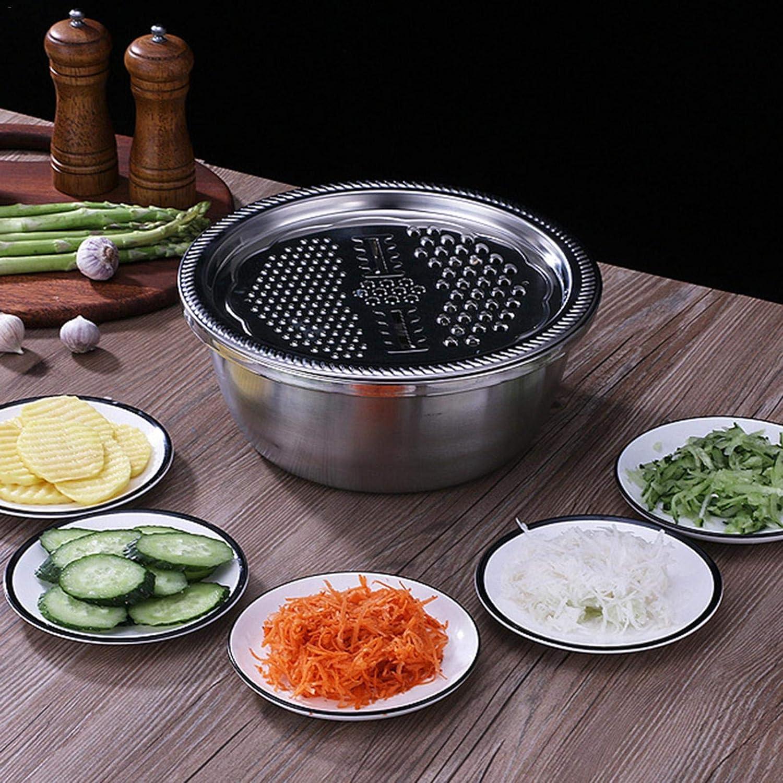 r/âpe de Cuisine en Acier INOX Trancheuse avec r/écipient pour Salade Fromage Fruits l/égumes Lavage Drainage Camping katiway 3 en 1 Mandoline Cuisine avec passoire et Bol de m/élange