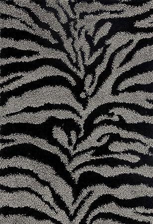 Amazon Com 230 Manhattan Zebra Shag Gray Black 7 X 10 Area Rug