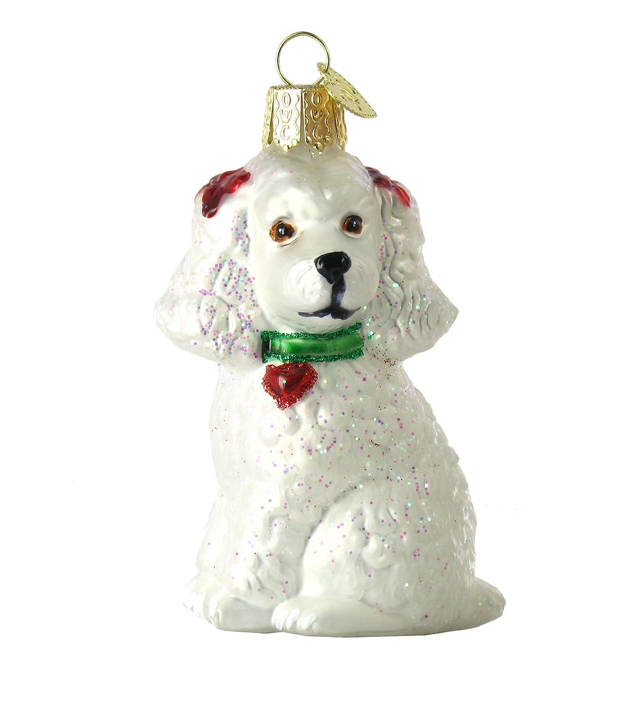 Amazon.com: Old World Christmas Poodle Glass Ornament- White: Home ...