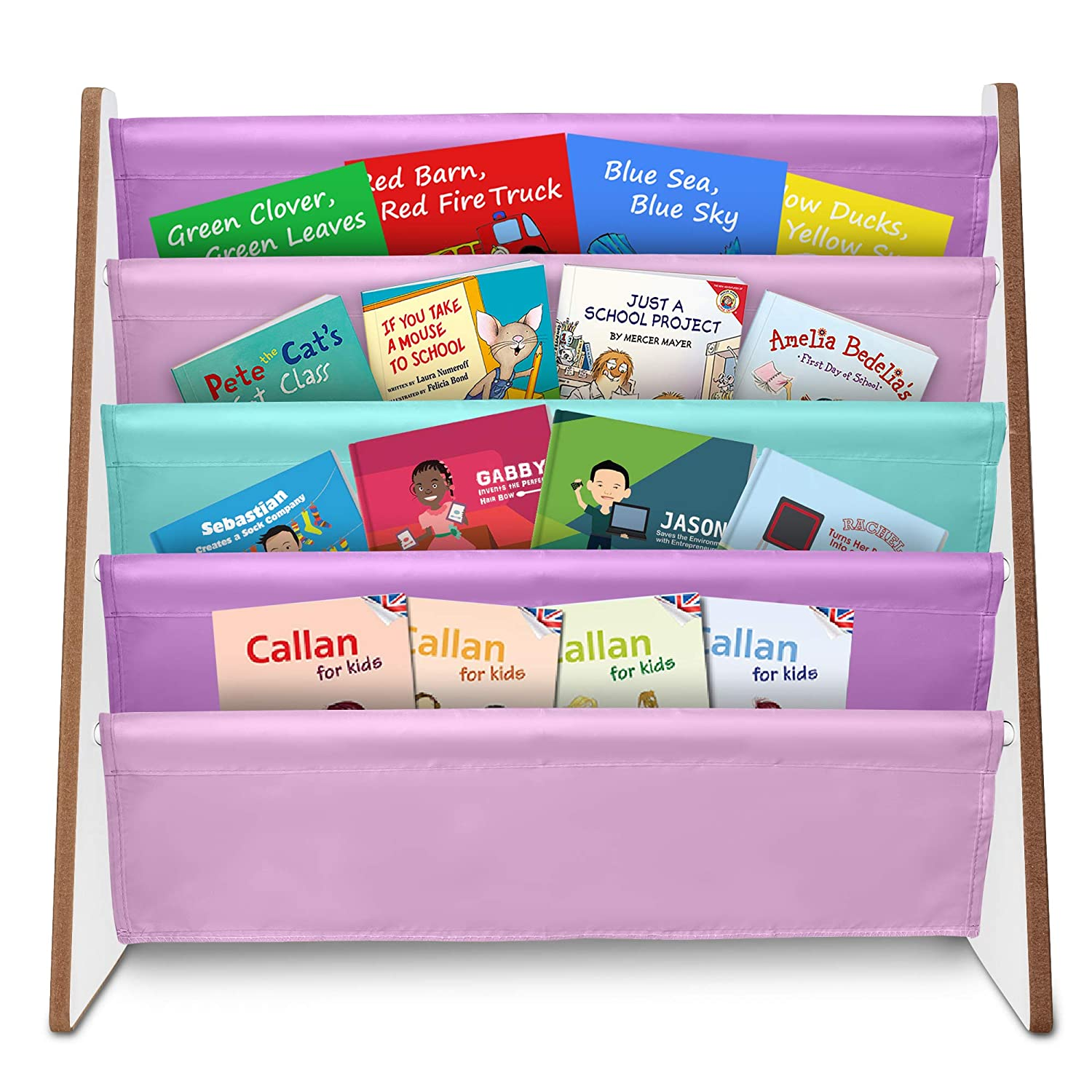 Fineway. 4 Tier Kids Book Storage Rack Wooden Sling Bookshelf Childrens Bookcase Shelves – With Soft Nylon Fabric – Ideal Story Books Organiser For Your Little ones. PINKS LILACS