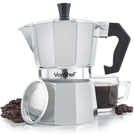 VonShef- Cafetera italiana espresso para hornillo de 3 tazas