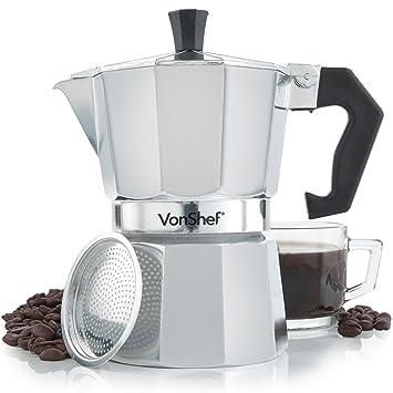 VonShef- Cafetera italiana espresso para hornillo de 3 tazas: Amazon.es: Hogar