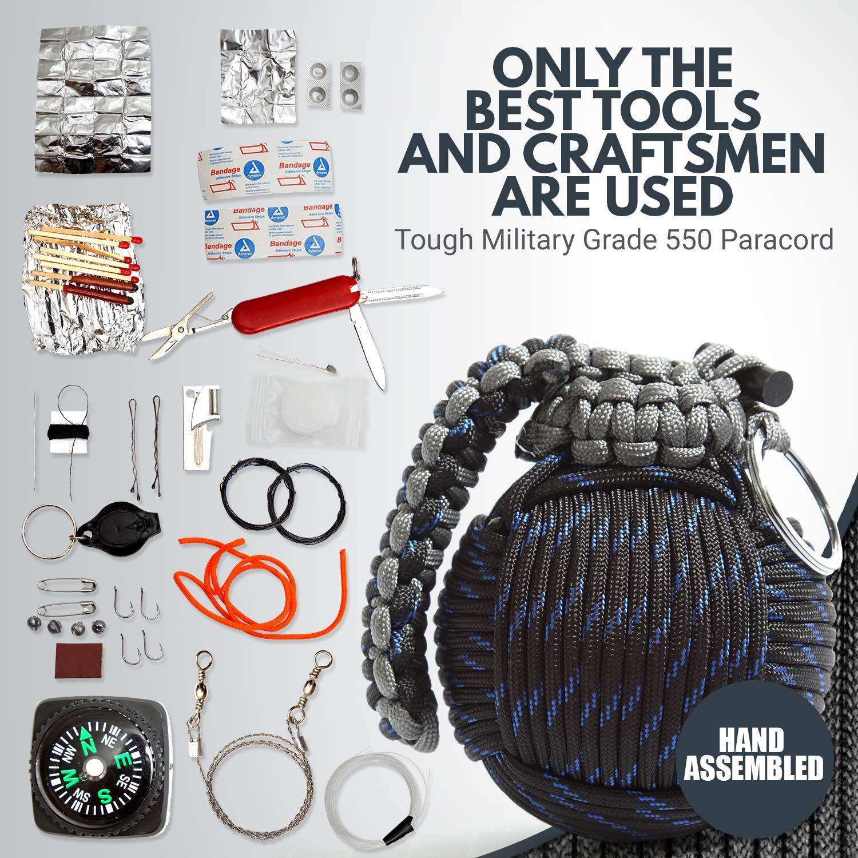 Holtzman's Survival Kit Paracord Grenade The #1 Best 48 Tool Emergency kit (Blue/Black) by Holtzman's Gorilla Survival (Image #5)