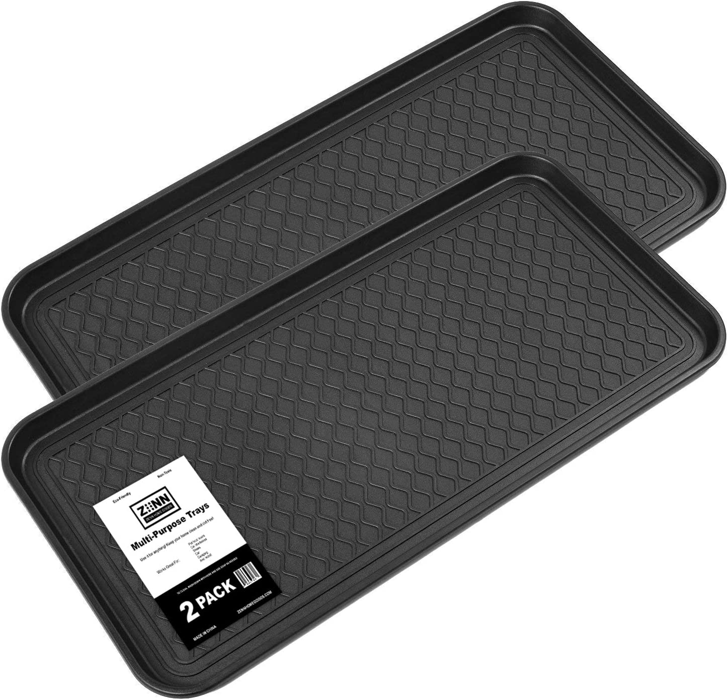Zenn (2 PACK) Multi-Purpose Durable Black Tray 30