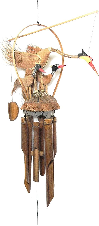 Feng Shui Vogel Mobile mit Bambus Windspiel Vogelk/üken Vogelnest Garten-Deko Bambus-Klangspiel mit harmonischen Ton und warmen Klang
