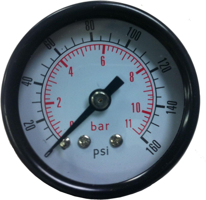 "300 PSI 1-1//2/"" diameter 1//8/"" NPT back port air hose line pressure gauge New"