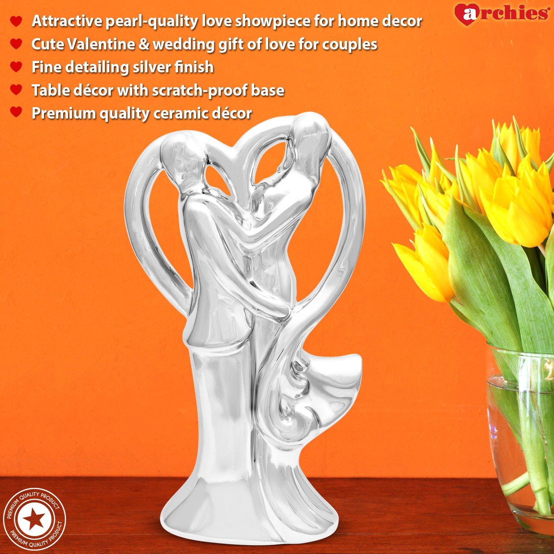 Buy Archies Couple Art Decor Ceramic Showpiece In Silver Color