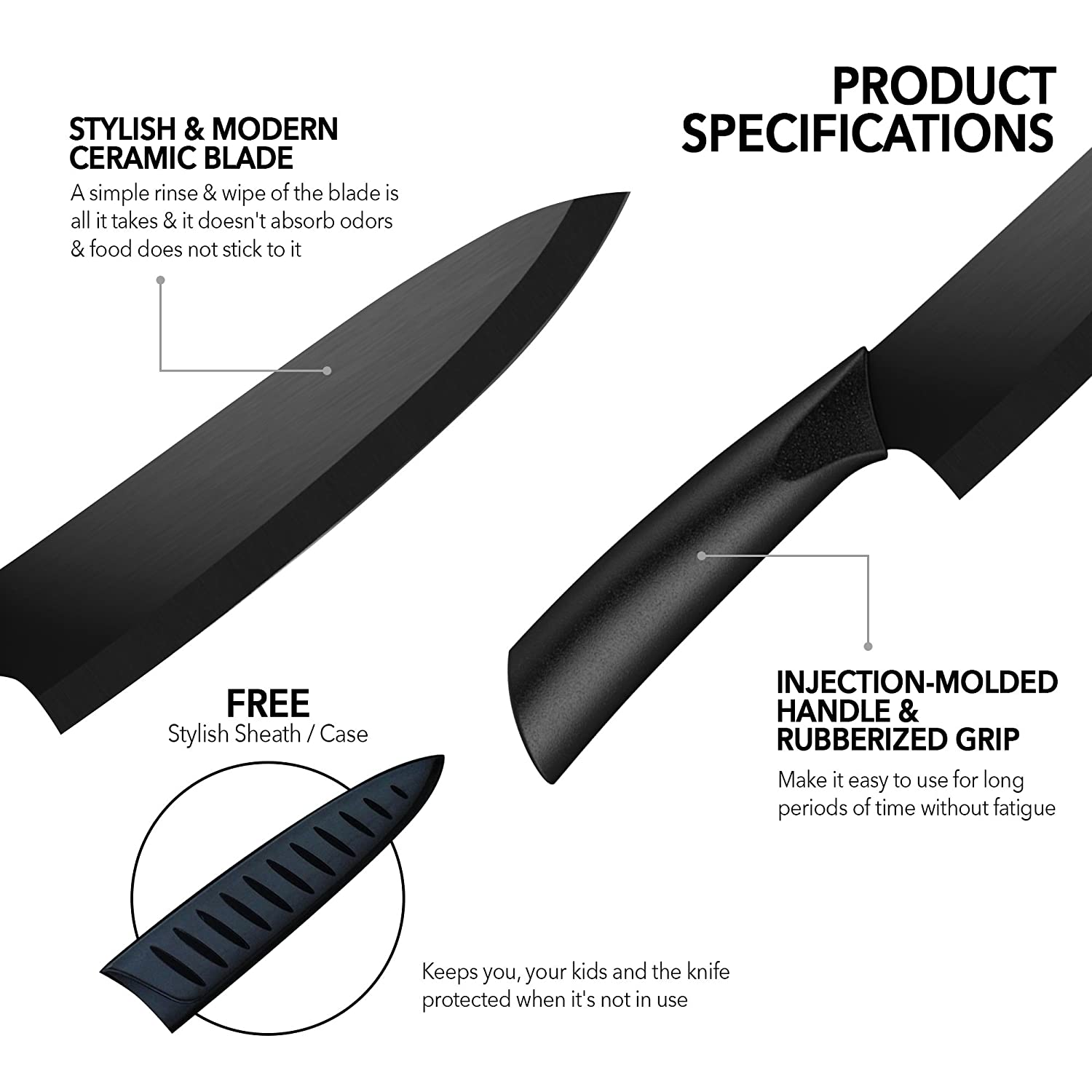 Amazon.com: Ceramic Chef\'s Knife – Best & Sharpest 8-inch Black ...