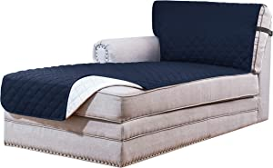 Subrtex Reversible Sofa Chaise Slipcover Protector, Washable Furniture Protector, Chaise Lounge Slip Cover for Pets Dogs with Elastic Adjustable Strap 102x34 Inch (Navy)