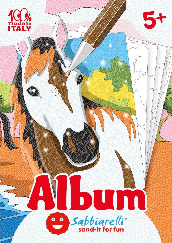 Sabbiarelli Sand-it For Fun - Álbum Los Caballos: 5 Dibujos pre-pegados para Colorear con la Arena (Arena no incluida), Adecuado para niños de años 5+