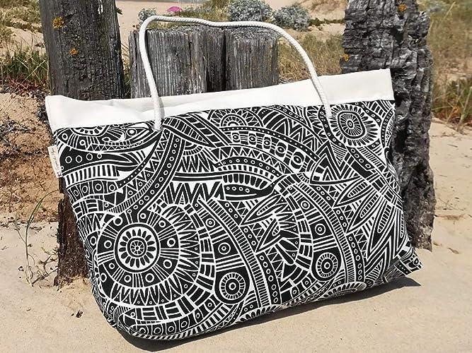 Bolso grande de playa, Tropical blanco y negro, Big Tote ...