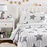 Amazon Basics Easy Care Super Soft Microfiber Kid's Bed-in-a-Bag Bedding Set - Twin, Grey Stars
