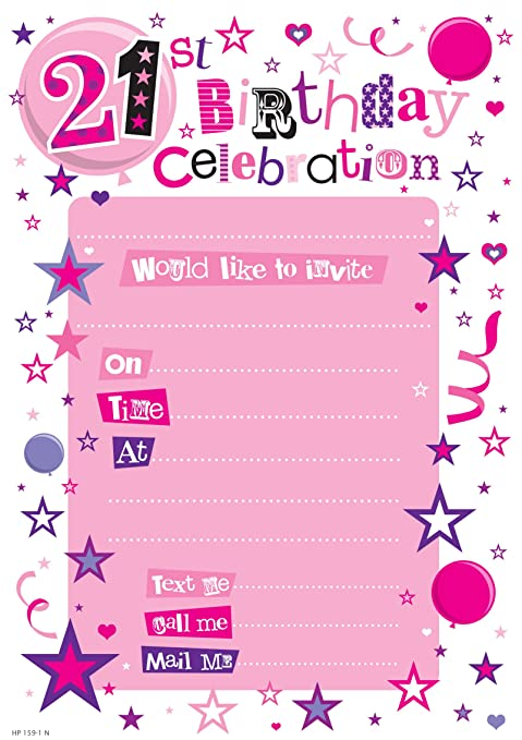 Amazon Com 21st Birthday Party Invitations Pink Girl 2013 Pack Of