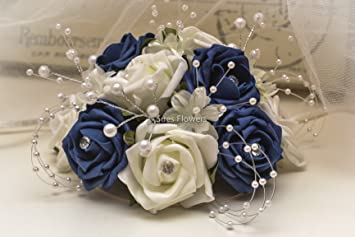 WEDDING FLOWERS CAKE TOPPER IN NAVY BLUE AND IVORY: Amazon.co.uk ...