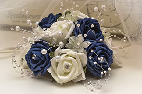 Wedding Flowers Cake Topper In Navy Blue And Ivory