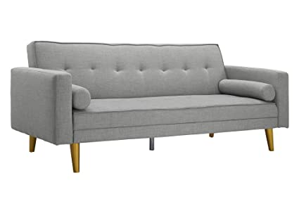 Superb Novogratz Vintage Mix Sofa Futon, Premium Linen Upholstery With Natural  Wooden Legs In Gold Finish