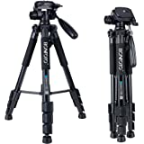 BONFOTO Q111 Lightweight Travel Tripod with Carry Case - 3 Way Fluid Panhead - Quick Adjustment Flip Locks - Compatible with Compact and Mirrorless Nikon Canon Sony DSLR Cameras and Phones - Black