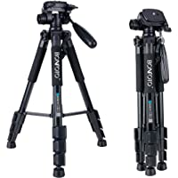 BONFOTO Q111 55-Inch Professional Compact Aluminum Camera Tripod Camcorder Stand With Pan Head Plate And Phone Holder Mount For Dslr Canon Nikon Sony Dv Video And Smartphones(Black)