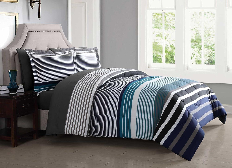 London Fog BIB1585BLF-3200 Complete Bed Ensemble, Full, Blue