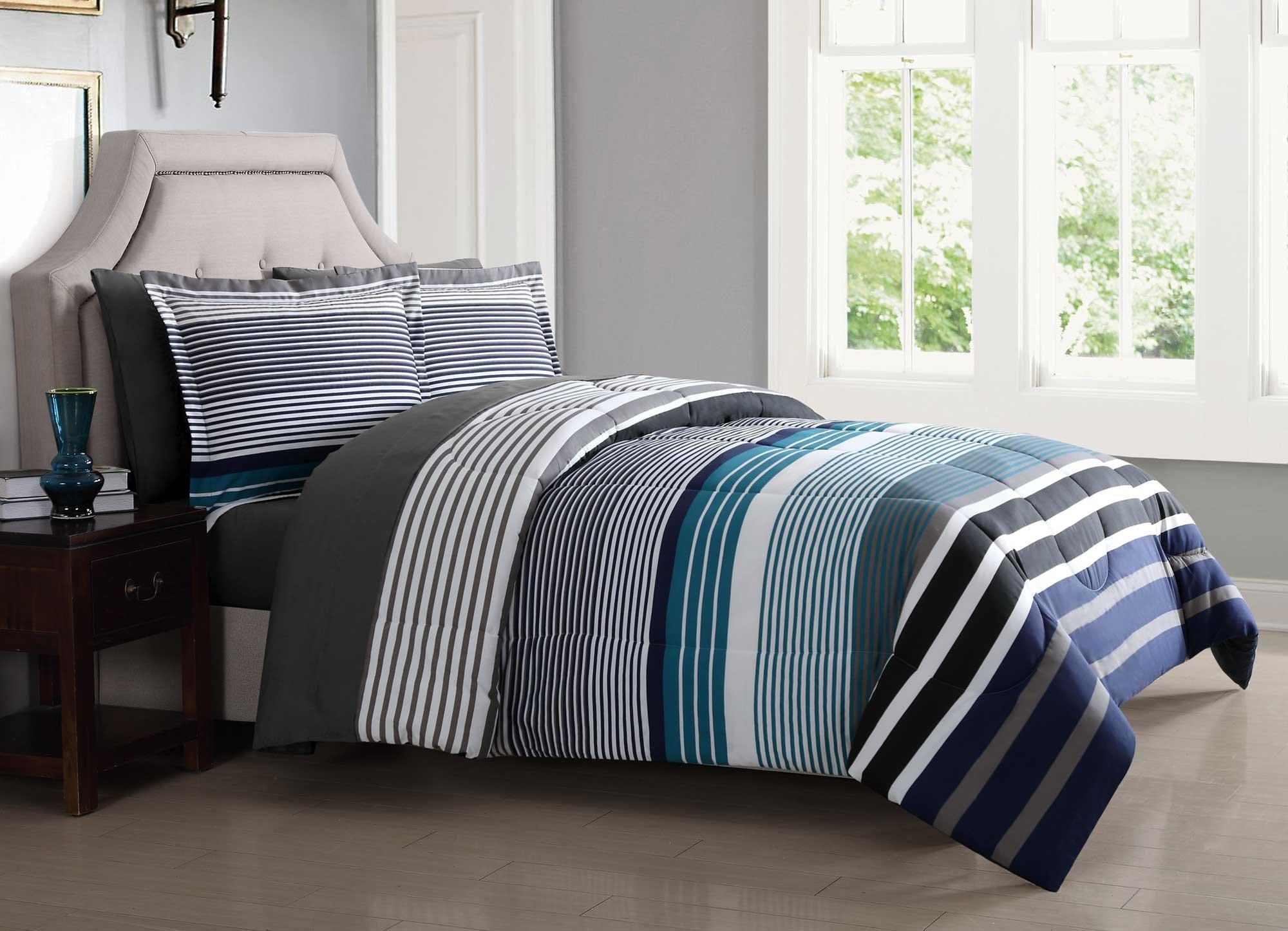 London Fog BIB1585BLX-3200 Complete Bed Ensemble, Twin XL, Blue