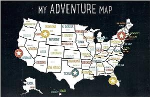 USA Adventure Wall Map Art Print, 05x07 Inch Print, Black, Kid's USA Wall Map,Children's Room Decor, Gender Neutral Nursery, Travel Nursery Decor,United States of America Map