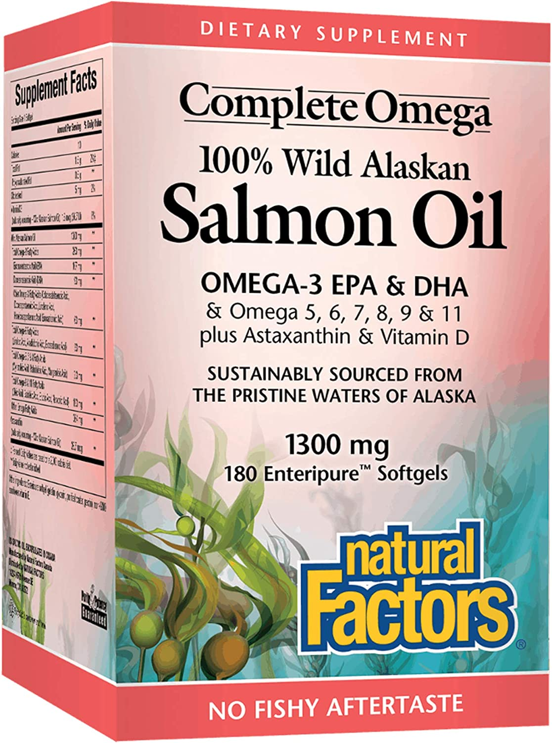 Complete Omega by Natural Factors, Wild Alaskan Salmon Oil, Supports Heart and Brain Health with Omega-3 DHA and EPA, 180 softgels (180 servings)