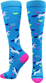 product image for MadSportsStuff Peace Love Unicorn Over The Calf Athletic Socks