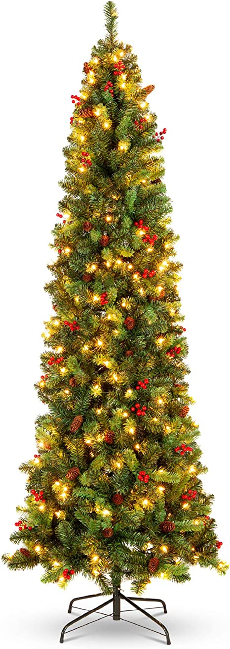 Amazon Com Best Choice Products 7 5ft Pre Lit Spruce Pencil Christmas Tree Pre Decorated For Home Office Party Holiday Decoration W 1 075 Tips 350 Lights Pine Cones Metal Hinges Base Green Home