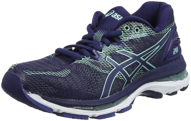 Asics Gel-Nimbus 20, Zapatillas de Entrenamiento para Mujer 39 EU|Azul (Indigo Blue/Indigo Blue/Opal Green 4949)