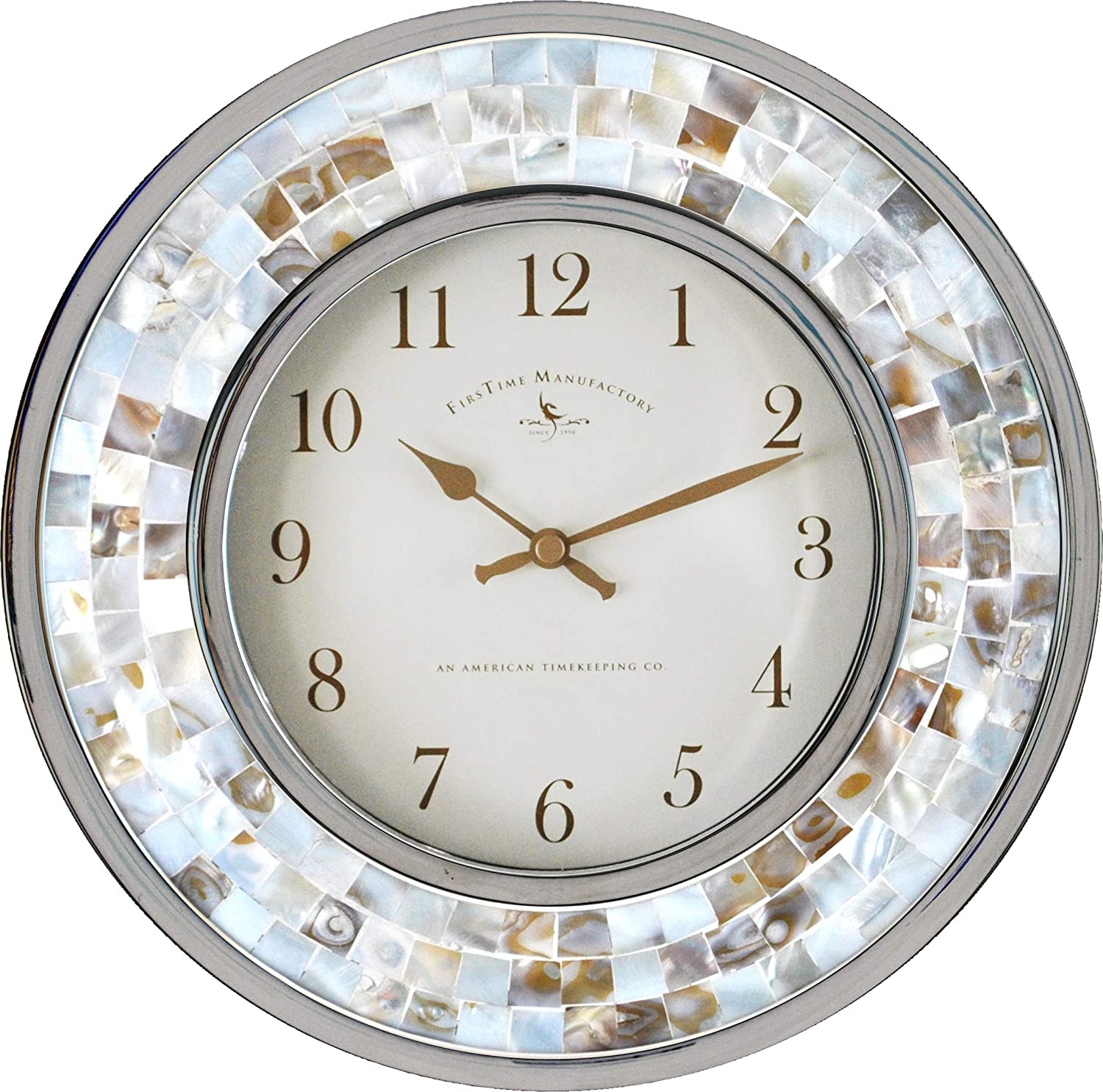 FirsTime Co. 00145 Pearl Mosaic Wall Clock, 10.25 , White Silver