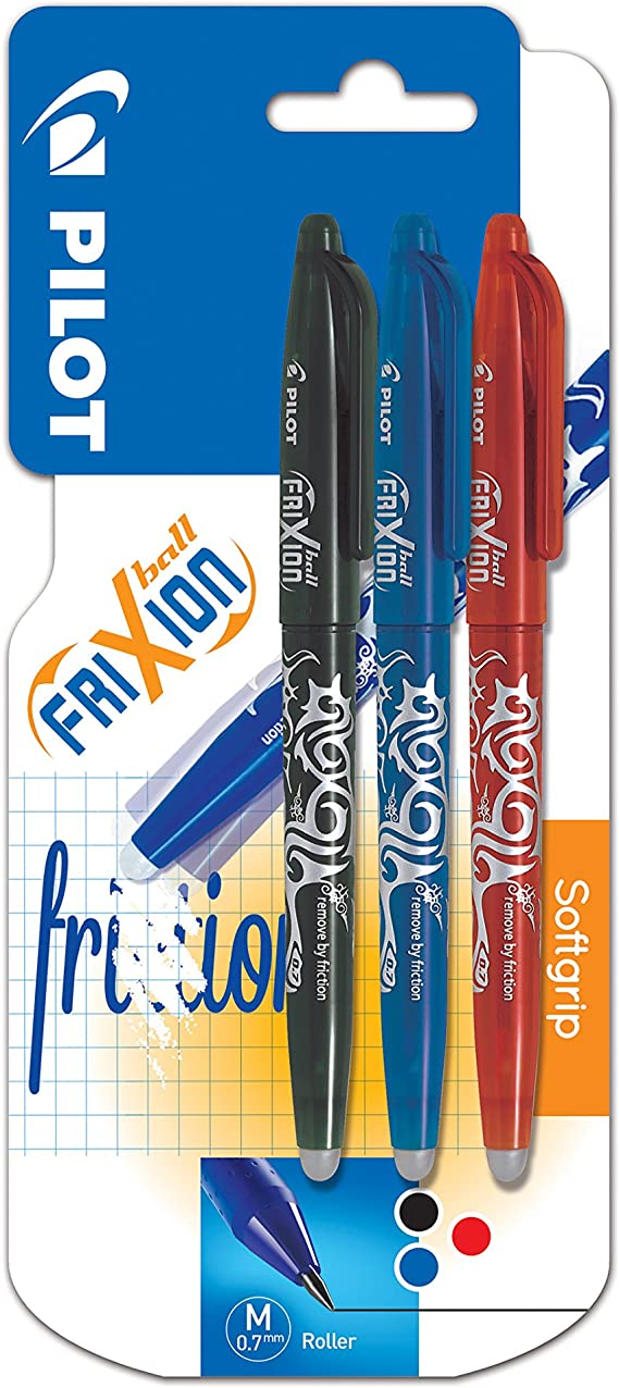 Amazon Com Pilot Frixion Erasable Rollerball 0 7 Mm Tip Black Red Blue Pack Of 3 Office Products