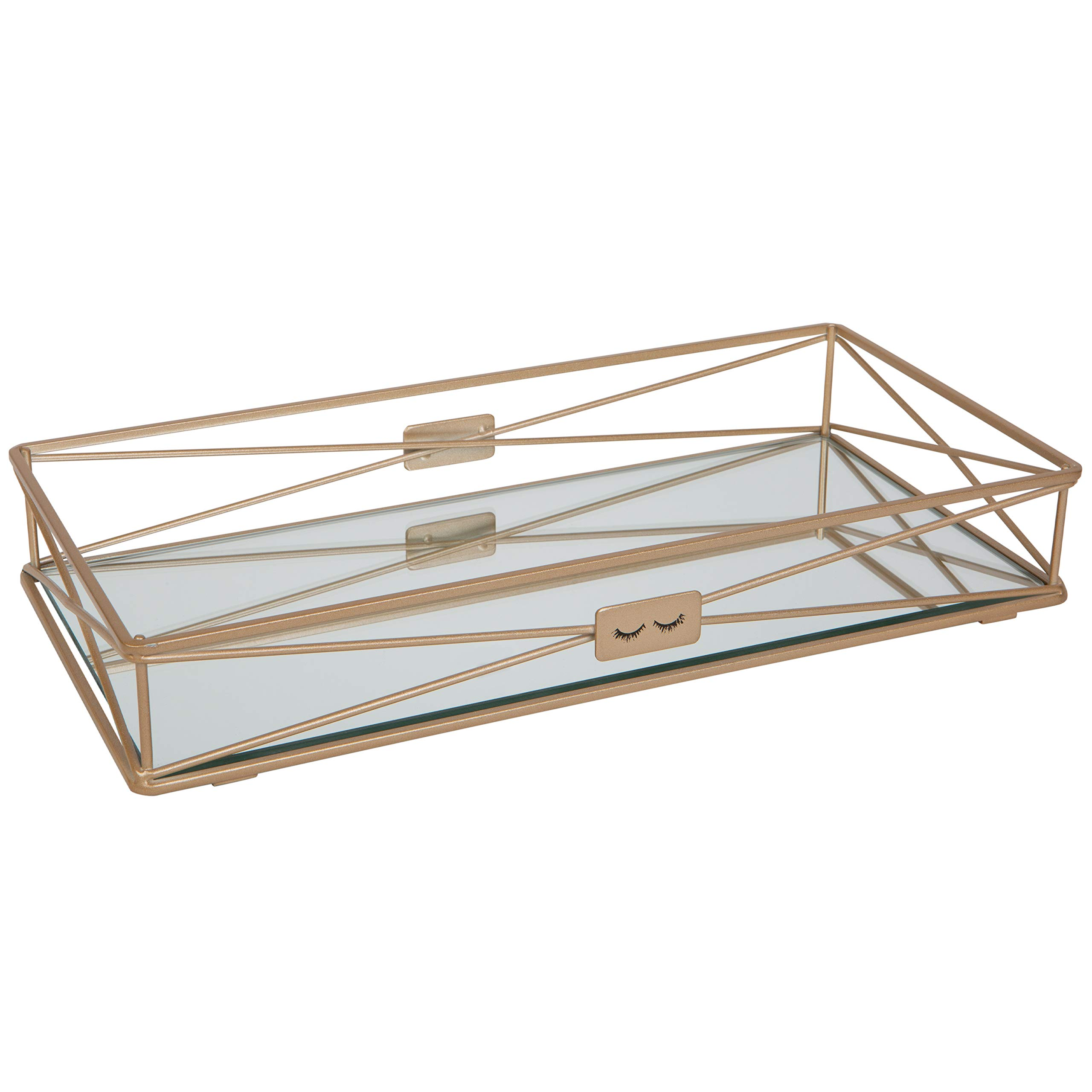 Home Details Gorgeous Vanity Tray in Satin Gold, 1 Tier,