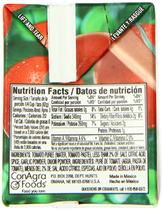 Amazon.com : Hunt\'s Tomato Sauce, 7.4 Oz. Carton, Pack of 24 ...