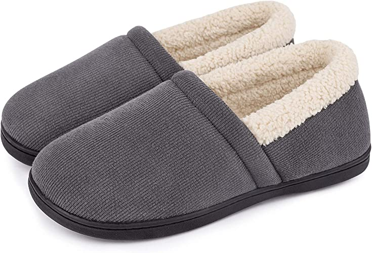 Women/'s Comfy Fuzzy Knit Cotton Memory Foam House Shoes Slippers w//Indoor Outdoor Sole