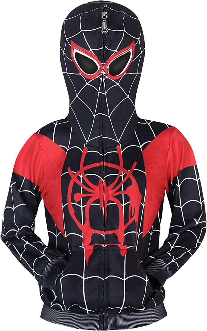 Kids Boys Spiderman Hooded Jacket Long Pants Tracksuit Cosplay Fancy Outfit Sets