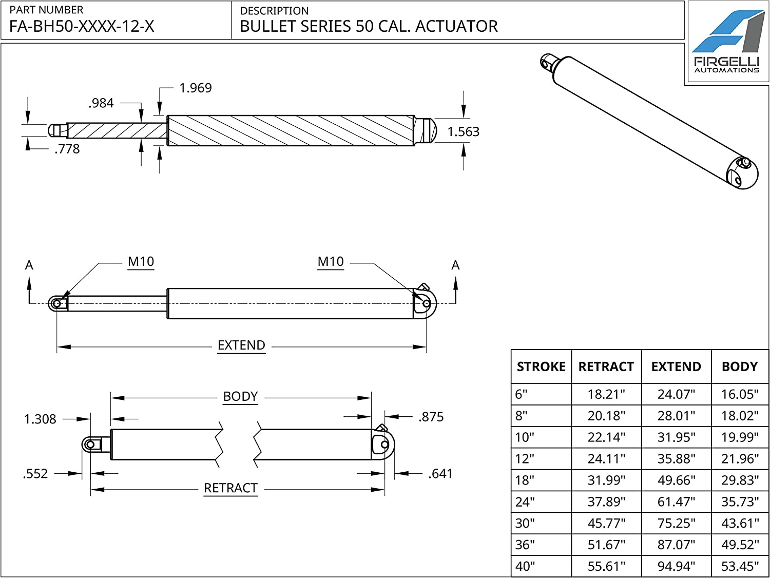 Firgelli Automations Bullet Series 50mm Diameter 1124 lb Force 24V Linear Actuator 18 inch