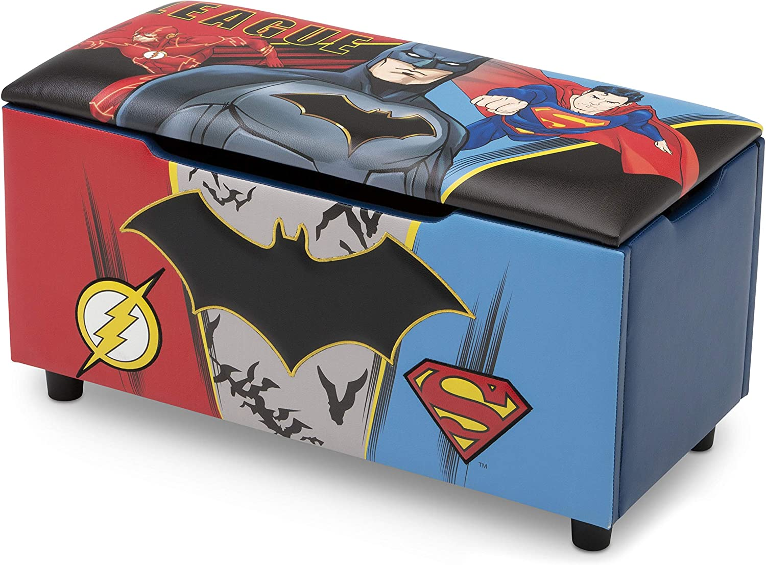 Thor Iron Man Captain America Perfect for Bedrooms//Playrooms//Living Rooms Features Fun Graphics of Hulk Marvel Avengers Upholstered Storage Bench for Kids