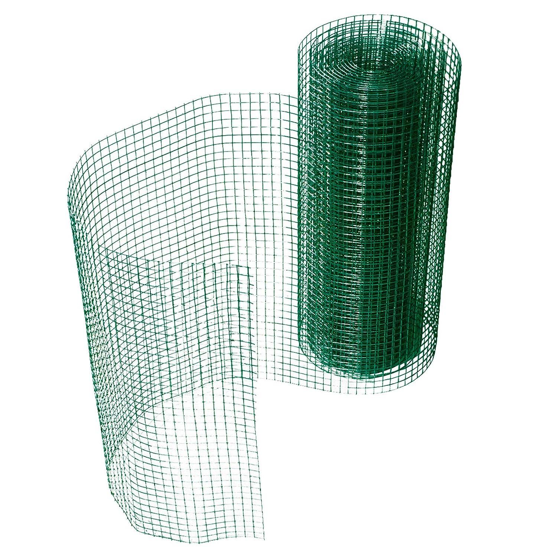 Grillage pour jardin casa pura clôture vert | tailles au choix | maille carré de 12,7mm | résistant aux intempéries | bricolage, 50cmx10m