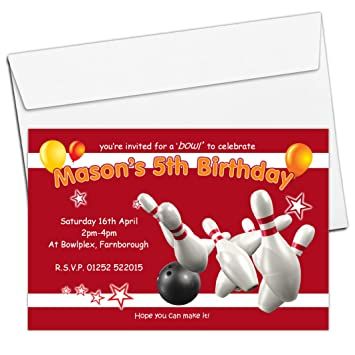 10 personalised boys girls ten pin bowling birthday party 10 personalised boys girls ten pin bowling birthday party invitations invites n122 filmwisefo