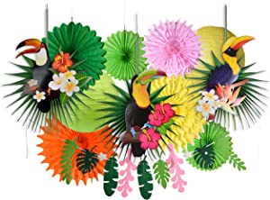 PAPER JAZZ Tropical Bird Toucan Leave Garland Party kit to Summer Hawaiian Luau Tiki Tropical Themed Party