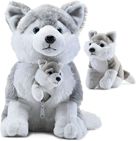 Plush Husky Dog with Zippered Pouch for Its 2 Little Plush Baby Dogs - Plushlings Collection Soft Stuffed Animal Playset