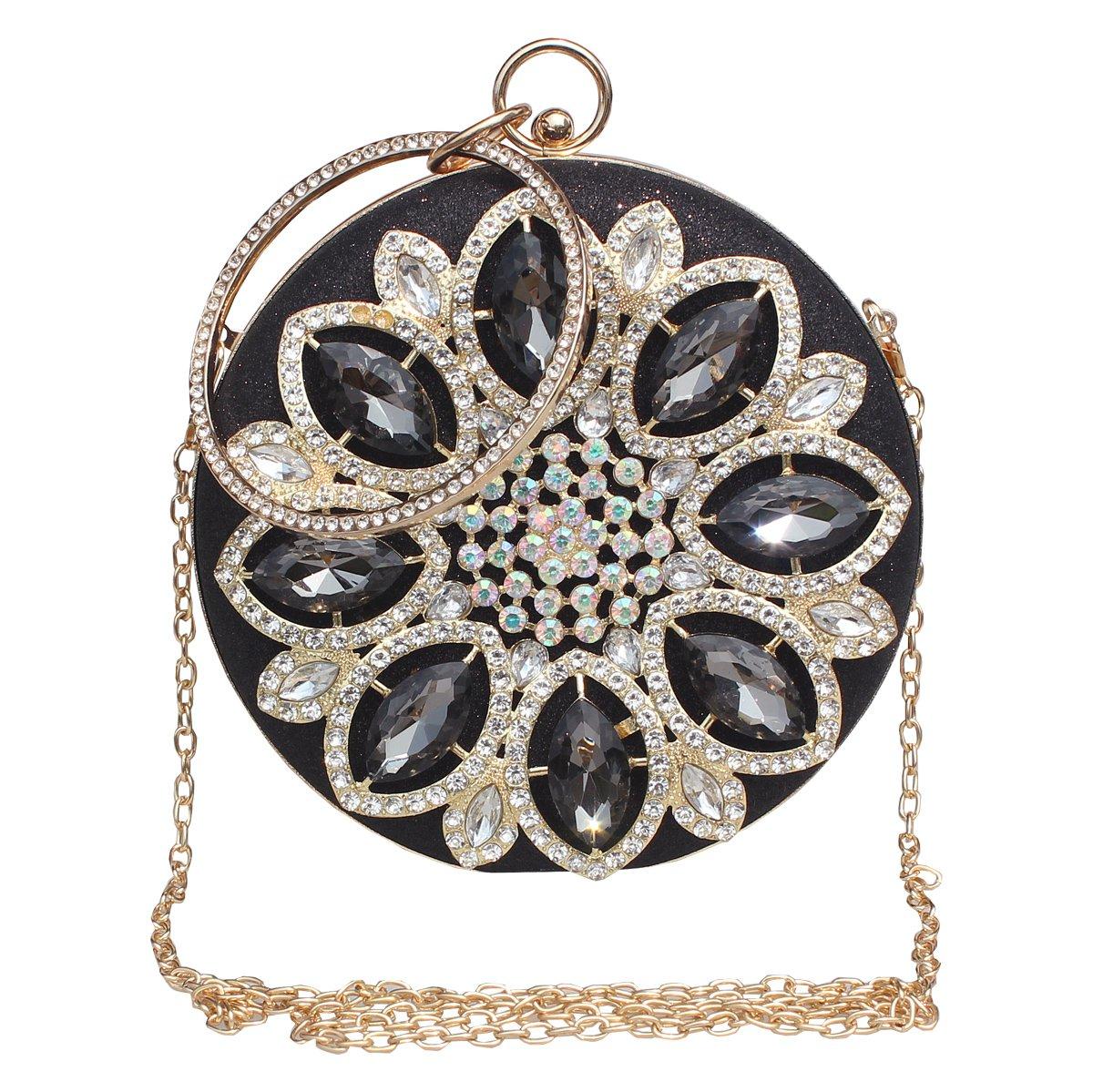 Womens Evening Bag Round Rhinestone Crystal Clutch Purse Ring Handle Handbag For Wedding and Party,Black-1.