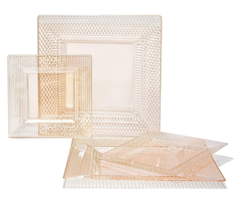 D  Vitro in bluesh  Peach 50 Piece (25 Guest) 360 PIECE   60 guest  OCCASIONS  Wedding Disposable Plastic Plate and Silverware Combo (White Silver rim plates)