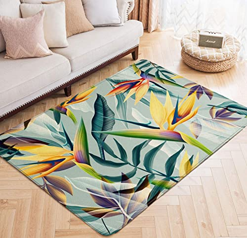 Area Rugs Tropical Pattern Flower Plant Leaf Botanical Hibiscus Palm Large Floor Mat for Living Dining Dorm Playing Room Bedroom 5 x 6.6