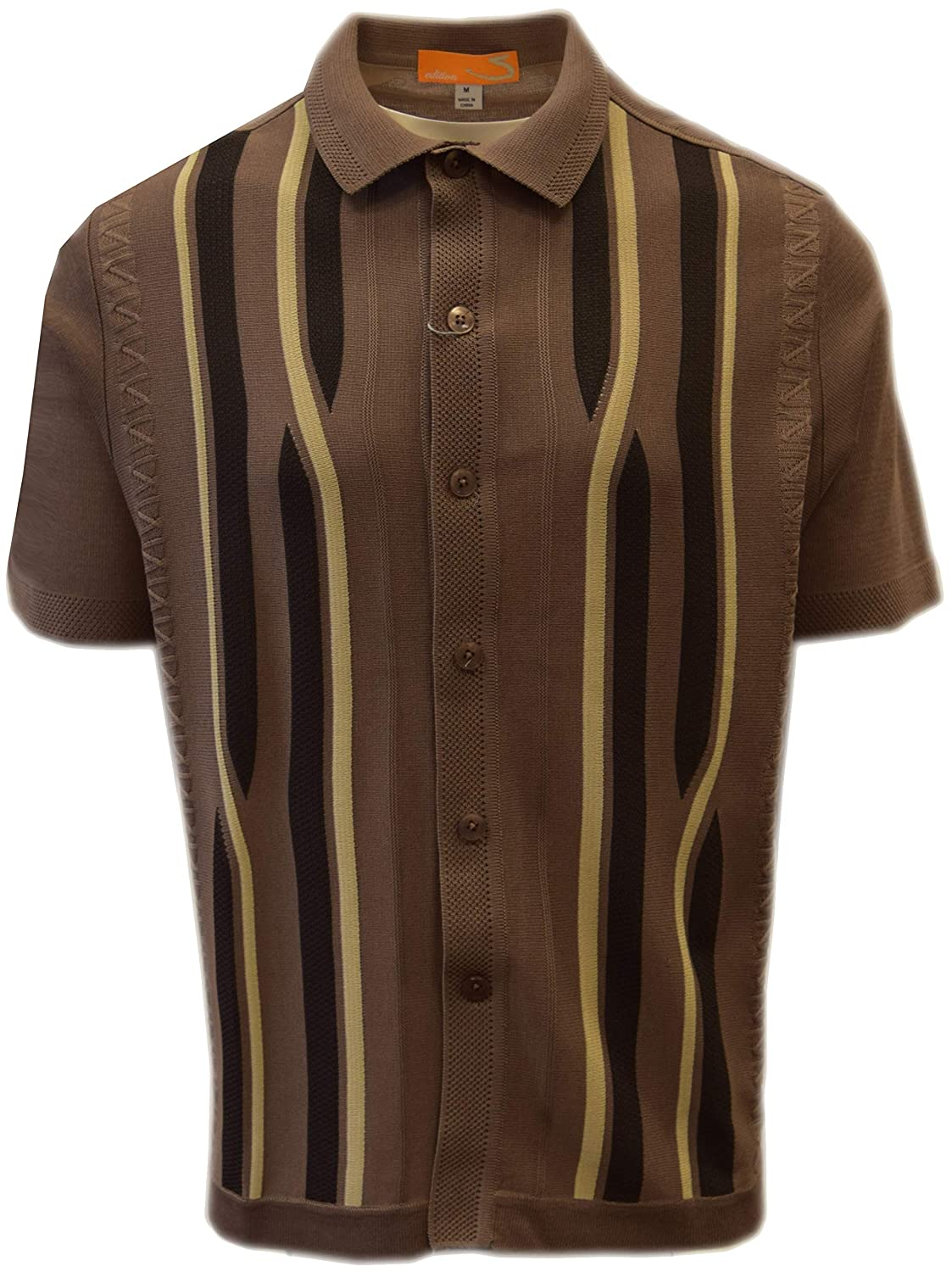 Mens Vintage Shirts – Casual, Dress, T-shirts, Polos SAFIRE SILK INC. Edition S Mens Short Sleeve Knit Shirt - California Rockabilly Style: Swirly Jacquard $49.00 AT vintagedancer.com
