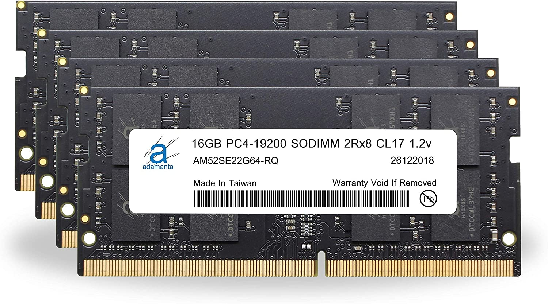 "Adamanta 64GB (4x16GB) Memory Upgrade Compatible for 2017 Apple iMac 27"" Retina 5K Display DDR4 2400MHz PC4-19200 SODIMM 2Rx8 CL17 1.2v Dual Rank RAM DRAM"