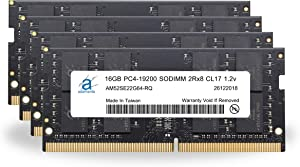 "Adamanta 64GB (4x16GB) Memory Upgrade Compatible for 2017 Apple iMac 27"" Retina 5K Display DDR4 2400MHz PC4-19200 SODIMM 2Rx8 CL17 1.2v Dual Rank RAM DRAM"